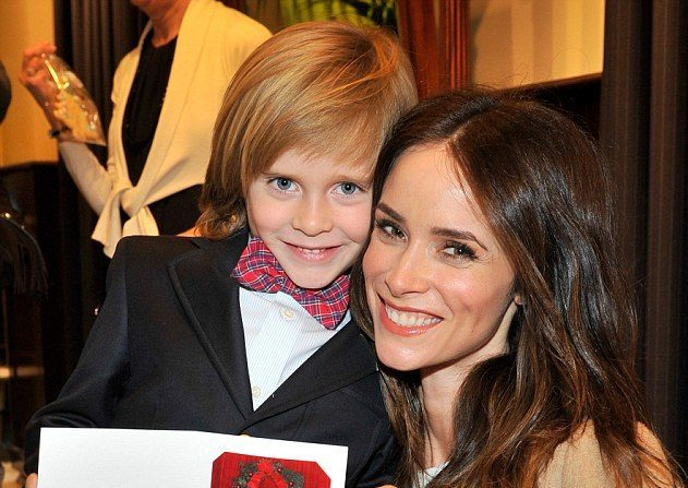 Abigail Spencer with her son Roman