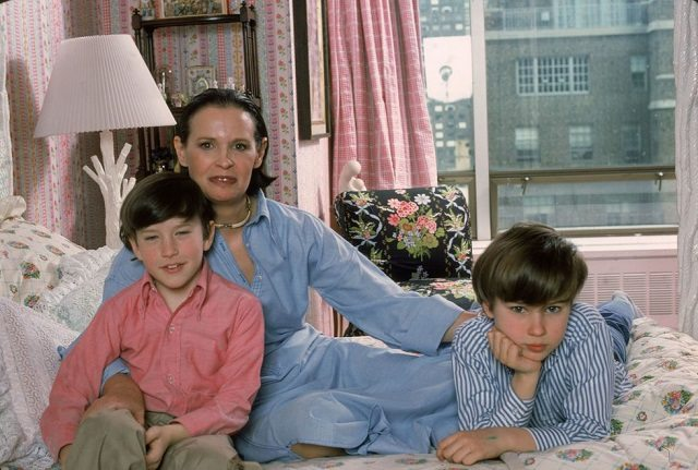 Christopher's mother Gloria, and his two half- brothers, Carter and Anderson in 1976
