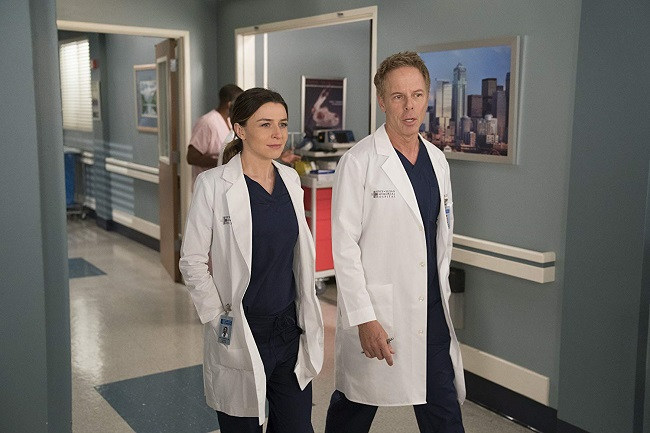 Greg Germann and Caterina Scorsone in Grey's Anatomy