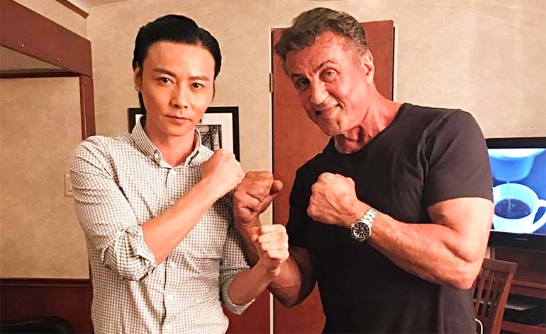 Zhang Jin and Sylvester Stallone